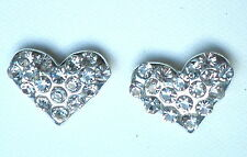 Clear Heart Crystal Studded Silver Tone Stud Earring 12 x 10mm  Post & Butterfly