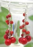 """4-6mm Round Natural Red Coral Earrings for Women 2"""" Grape Dangle Earring Hook"""
