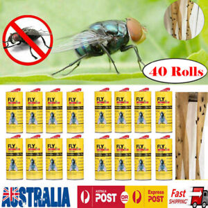 4-40Rolls Insect Bug Fly Glue Paper Catcher Trap Ribbon Strip Sticky Tape Flies