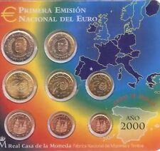 Moneda De España euro set 2000 oficial todas las monedas en Blister 1 centavo a 2 € nuevo BUNC kms