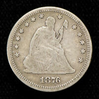 1876 25c SEATED LIBERTY QUARTER, FINE COIN LOT#T762
