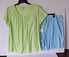 WOMEN'S CROFT & BARROW SHORTIE PAJAMAS PLUS SIZE 2X SPRING GREEN AND BLUE PRINT