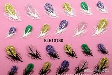 Glittery Feathers 3D Nail Art Sticker Decal Decoration Manicure Water Transfer