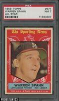 1959 Topps #571 Warren Spahn Milwaukee Braves All Star HOF PSA 7 NM