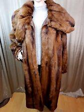 WOMENS REAL RABBIT FUR LEATHER LONG COAT KIMONO SLEEVE BROWN XXL UK20-22