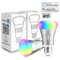 2 Pcs Smart Wifi Bulb E27 RGB LED Light Work With Google Home/Amazon Alexa/IFTTT