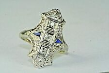 1920'SART DECO ANTIQUE 18K WHITE GOLD FILIGREE TALL DIAMOND SAPPHIRE RING  7 1/4