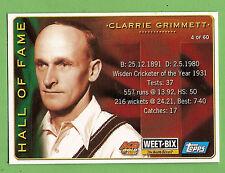 2002 WEETBIX  CRICKET CARD #4  CLARRIE  GRIMMETT / #49  COLIN  MILLER
