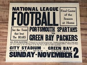 NFL 1930 Portsmouth Spartans(1st Year) Green Bay Packers(Champions) Broadside