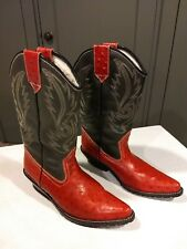 Womens Red and Gray Ostrich and Leather Cowboy Boots - Size 7.5