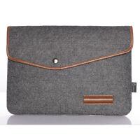 Deep Grey Woolen Felt Laptop Sleeve Bag Case For HP IBM MacBook 11'' 11.6'' 12''