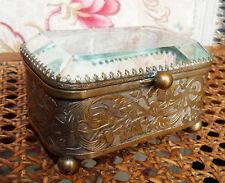 Ancienne boite, coffret en verre biseauté fin XIXe aux décors Art-Nouveau