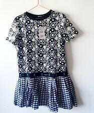 NWT ZARA Dress M 12 14 Black White Lace Gingham Floral Drop Waist Skater Short
