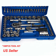 "108 Pcs 1/2"" & 1/4"" Chrome Socket Set Screwdriver Bit Torx Ratchet Case Too"