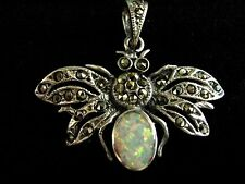 Sterling Silver Gilson Fire Opal Marcasite insect moth bee bug pendant Vintage