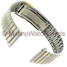 16-21mm Speidel Matte Silver Shiny Gold Accents Safety Latch Clasp Band 1659