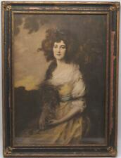 Antique Framed Hand Colored Drawing Sitting Victorian Woman