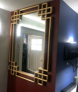 "Decorative Accent /Hrima Rectangle Gold Wall Mirror /38""x52""(note:defective)"