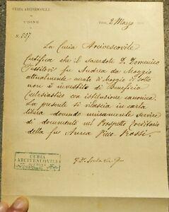 1890 96) LETTERA VESCOVO DI MONTENARS (UDINE) FRANCESCO ISOLA. PRETE DI MOGGIO