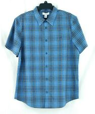 NWT Calvin Klein Men's LOGO Blue Plaid Short Sleeve Point Collar Shirt Large