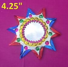"""El Sol de Arco Iris Art Mexican Handmade Tin Ornament Mirror Milagro 2/$16 4.25"""""""