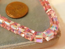 Faceted Pink Crystal Glass Square Cube Bead Stretchy Bracelet 6h 2