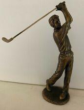"Bronze Colored Male Golf Trophy - Statue - Golf Art 9"" FIGURINE - Tiger Woods"