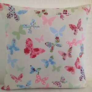 CUSHION COVERS SHABBY 'N' CHIC PASTEL  PINK & CREAM COLOUR BUTTERFLY BUTTERFLIES