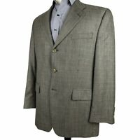 Ralph Lauren Silk Wool Sport Coat 42R Gray Black Check 3 Button Blazer Jacket