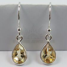 Real CITRINE Pear Gemstones 925 Solid Sterling Silver Elegant Earrings FINE EDH