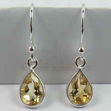 Real CITRINE Pear Gemstones 925 Solid Sterling Silver Elegant Earrings FINE