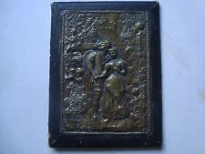 Antique Brass Picture Front Book Cover Courting Couple Raised Image For Framing