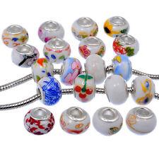 Mixed Chinese Ceramic Murano Bead Fit European Charm Bracelet Handmade 50pcs