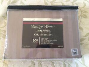 New Bentley Home Wrinkle Resistant King Sheet Set 800 TC Luxury Satin Stripe.