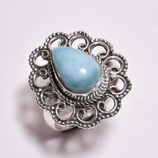 925 Sterling Silver Ring Size UK N 1/2, Larimar Handcrafted Women Jewelry CR4323
