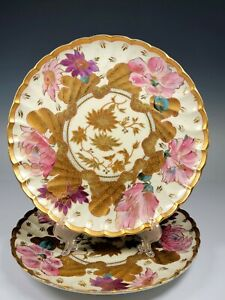 "ANTIQUE Vienna Imperial Austrian Porcelain 4 Hand Painted Plates ~ 8 1/4"""
