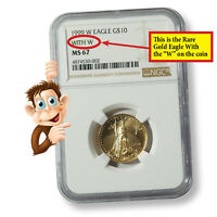 1999-W (With W) 1/4 oz Gold American Eagle NGC MS67 (#10142)