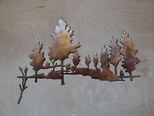 Forest Scene Metal Art Wall Hanging with Rustic Copper Finish