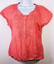 CROFT & BARROW Women's Embroidered Cotton Peasant Top Half Button-Up Coral S-29B