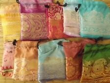 Set of 10 multi coloured silk satin drawstring mini pouches approx 7 cm x 8 cm