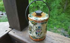 Vintage Murray Allen Tin Canister Floral Colorful Tin Metal with Handle England