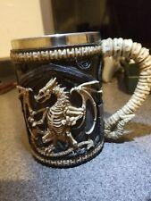 Large Gothic Medieval Dragon Skeleton Resin Beer Stein Stainless Steel Liner