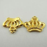 45X Vintage Style Gold Tone Crown Pendant Charms 22*19*3mm