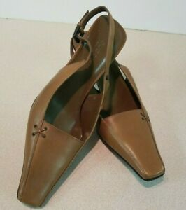 Gucci Womens Brown Cocoa Leather Heels Shoe Pointed Square Ankle Strap Toe 8.5 B