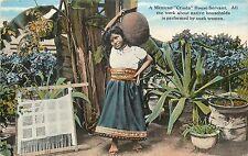 Vintage Postkarte mexikanische criada Haus Diener mit Hand Loom