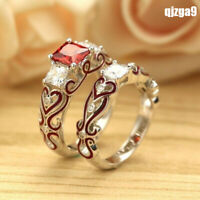 Fashion Lover Red CZ Couple Wedding Engagement Band Rings Set
