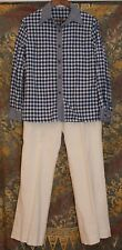 Vintage 70s Saks Fifth Ave Blue & White Checkered Linen Pants Suit