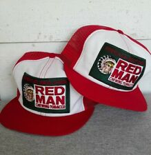 VTG 80s Red Man Tobacco Trucker Patch Mesh Snapback Hat Lot of (2) Swingster USA