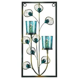 Accent Plus Turquoise Crystal-Like Peacock Rectangular Two Candles Wall Sconce