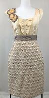 Anthropologie Floreat A Line Dress Floral Cream Appliqué Size 6 Cream